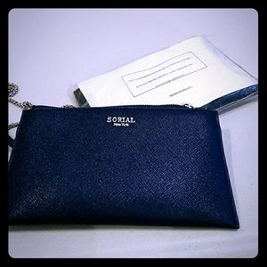 Sorial Saffiano Wallet on a Chain navy blue